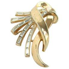 1953 Trifari Pat Pend Comet Rhinestone Brooch Pin Patented Alfred Philippe Trifari Jewelry