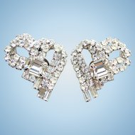 Vintage C1960 Dazzling Clear Ice Rhinestone Clip Earrings Heart Shape