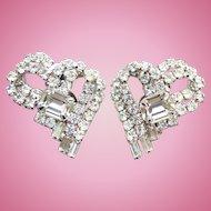 Vintage C1960 Dazzling Clear Ice Rhinestone Clip Earrings Heart Shape