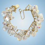 Juliana DeLizza Elster Aurora Borealis Bead Dangle Rhinestone Bracelet 5 Link Gold Tone