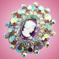 C1963 Juliana DeLizza Elster Aurora Borealis Rhinestone Cameo Brooch Book Piece