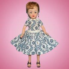 Vintage Ideal Little Miss Revlon Doll in Rare Torso Dress Box Blonde Ponytail 1959