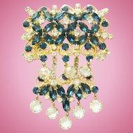 Vintage Juliana DeLizza & Elster Large Blue Rhinestone Brooch Clear Drops Verified