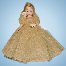Madame Alexander Gorgeous Blond Cissette Doll in Gold Lame Ball Gown 9in Rare