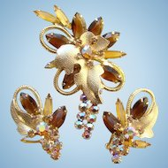 Juliana DeLizza & Elster Brooch Earrings Set Topaz Rhinestone Gold Leaf Accent