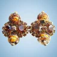 Vintage Alice Caviness Amber Rhinestone Foiled Art Bead Clip Earrings Signed