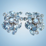 Juliana Powder Blue Rhinestone Clip Earrings Tiered Flower Spray DeLizza Elster