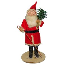 Old Antique Japan Christmas Santa Claus St Nicholas Carrying Feather Tree 7in