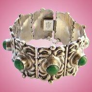 C1940 Horacio de la Parra Huge Mexico Sterling Silver Link Bracelet Green Agate Signed