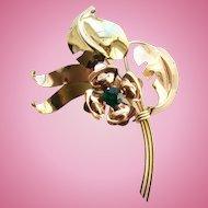 C1930-40 Harry Iskin Floral Spray Brooch 1/20 10K Gold Filled Signed H I