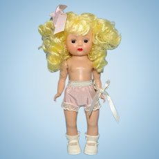 Nancy Ann Muffie Doll Pigtail Blonde Straight Leg Walker in Original Box C1955