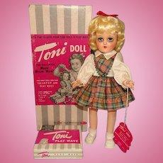 Ideal Toni Doll P-90 Blonde Plaid Dress in Original Box Gorgeous 1949-50