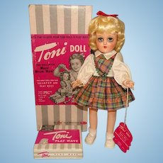 Ideal Toni Doll P-90 Blonde Plaid Dress in Original Box Gorgeous 1949-50