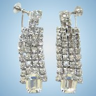 Vintage Clear Rhinestone Drop Dangle Earrings Screw Back Silvertone Elegant