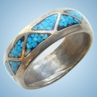 Vintage Southwestern Navajo Turquoise Shiprock Mosaic Sterling Silver Ring Size 6.5