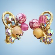 Juliana DeLizza & Elster Pink AB Rhinestone Clip Earrings Metal Accents Bead Dangles