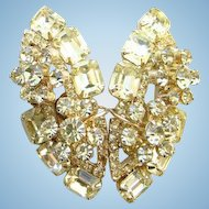 Juliana Jonquil Rhinestone Clip Earrings Wire Over Flower Spray DeLizza Elster D & E