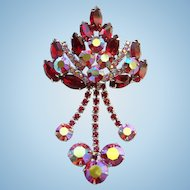 Juliana DeLizza Elster Brooch Ruby Red Rhinestone Pink Aurora Borealis Dangles
