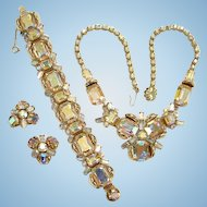 Fabulous Vintage Aurora Borealis Rhinestone Necklace Bracelet Earrings Set Parure