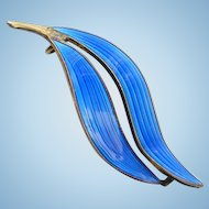 Vintage Modernist Norway Aksel Holmsen Blue Guilloche Enamel Double Leaf Pin Signed