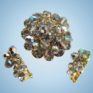 Juliana DeLizza Elster Brooch Clip Earrings Set Smoke Rhinestones Bead Dangles