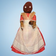 Mammy Cloth Rag Bottle Doll Holding Baby 1930s Black Americana Folk Art 14 Inch