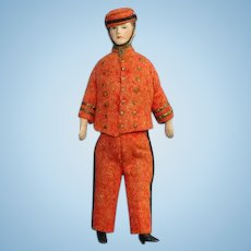 Antique Bisque Bellhop Bellman Dollhouse Doll 5 Inch Red Felt Costume
