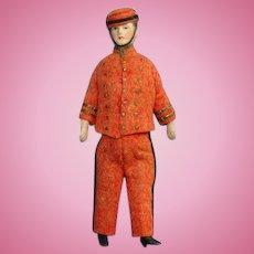 Antique Bisque Bellhop Bellman Dollhouse Doll 5 Inch Red Felt Costume