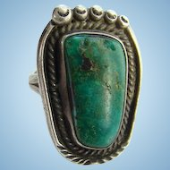 Unique Navajo Bear Paw Shape Turquoise Ring Size 7.5 Sterling Silver Vintage