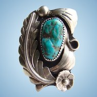 Navajo Turquoise Ring Sterling Silver C1970s Signed Size 5.5 Vintage Southwestern
