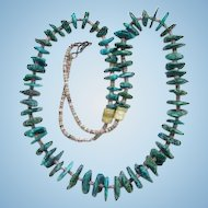 Vintage Southwestern Tribal Heishi and Graduated Turquoise Shard Necklace C1960s