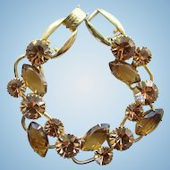C1960s Juliana DeLizza Elster Bracelet Amber Rhinestone 5 Link