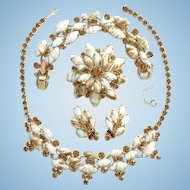 Juliana DeLizza & Elster Grand Parure Chalk White Copper Fluss Rhinestone Set Bracelet Necklace Brooch Earrings C1963
