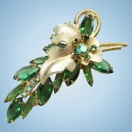 C1962 Juliana Green Rhinestone Brooch Pin Large Gold Leaf Finding DeLizza Elster Book Piece
