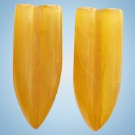 Art Deco Pair Amber Butterscotch Yellow Bakelite Dress Clips Clip C1930s