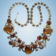 Juliana DeLizza Elster Smoke and Topaz Rhinestone Necklace 5 Link 1960s