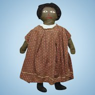 Antique Primitive Black Americana Cloth Doll Embroidered Face Brown Calico Dress 19in