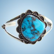 Navajo Morenci Turquoise Native American Cuff Bracelet Sterling Silver Vintage