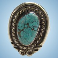 Vintage Navajo Sterling Silver and Kingman Turquoise Ring Size 6 Native American Jewelry