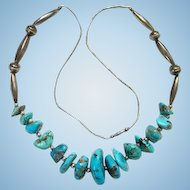 Vintage Southwestern Tribal Turquoise Nugget Sterling Silver Melon Beads Necklace