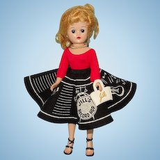 Vogue Blond Ponytail Jill Doll in Black Felt Record Hop Skirt Outfit 1950s