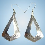 Southwestern Tribal Sterling Silver Dangle Pierced Earrings Stamp Decorated Boho Bohemian Gypsy Hippie