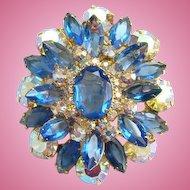 Juliana Saphire Blue Aurora Borealis Rhinestone Brooch DeLizza Elster