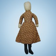Antique Americana Primitive Pencil Face Cloth Doll in Brown Calico Dress 19in