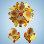 Vintage Brooch Clip Earrings Set Givre Rhinestone Molded Carved Glass Tan Yellow Amber Watermelon