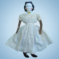 Antique Adelina Patti China Shoulder Head Doll in Original Clothing 20 Inches Germany