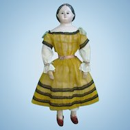 Antique Greiner Style Glass Eye Papier Mache Shoulderhead Doll Handstitched Cloth Body All Original 16 Inch
