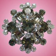 Vintage Designer Black Diamond and Clear Rhinestone Brooch Pin Brilliant
