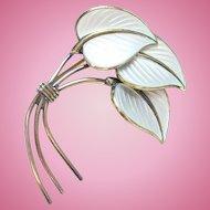 Vintage Norway Norwegian Hans Myhre Gilt Sterling Silver Guilloche Enamel Pin White Leaves