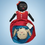 Large Old Black White Topsy Turvy Doll Calico Clothing 21in Museum Deaccession